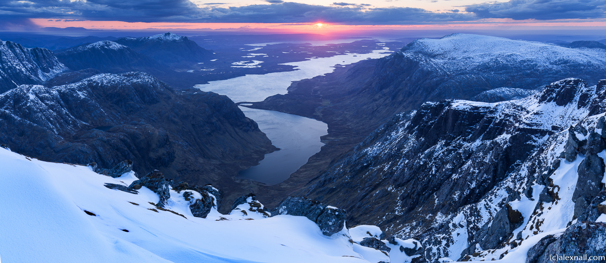 The shot I had planned for - Sunset above Dubh and Fionn Loch from A'Mhaighdean