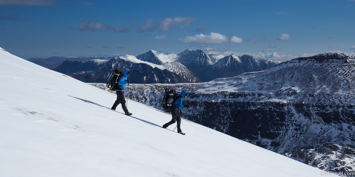 Time to head down, again in perfect weather, with An Teallach in the distance