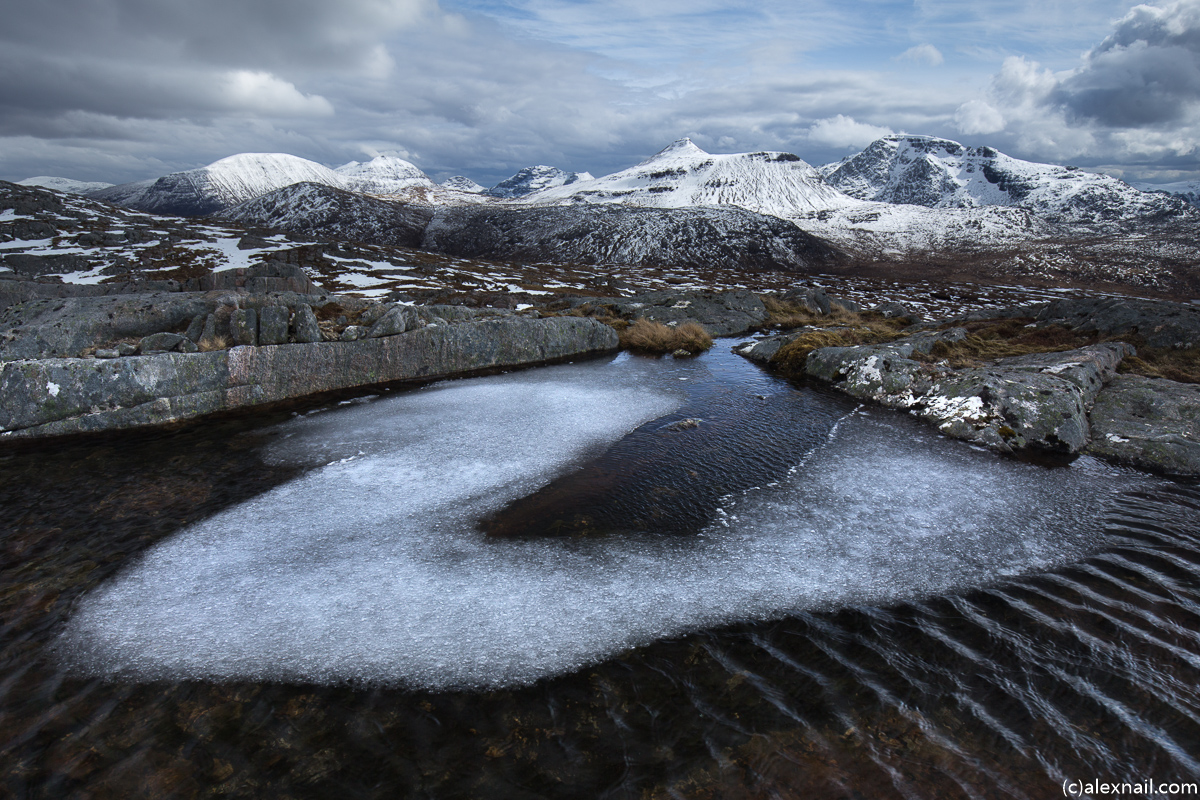 An icy pool and the 5 Munros of the Fisherfield 6