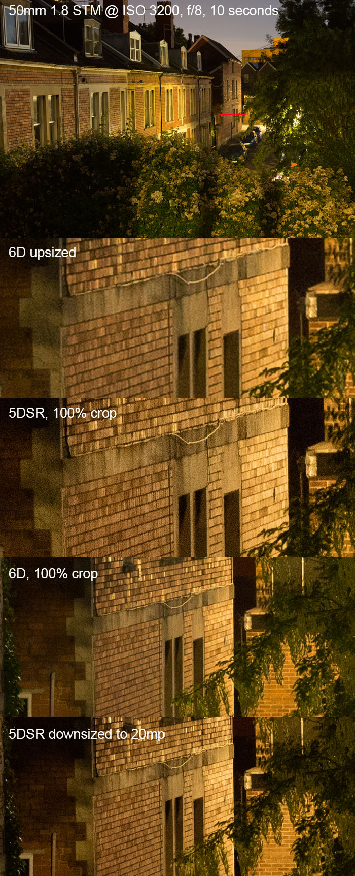 Overall the 5DS and 5DSR seem to have similar noise performance to the previous generation but there is more detail.