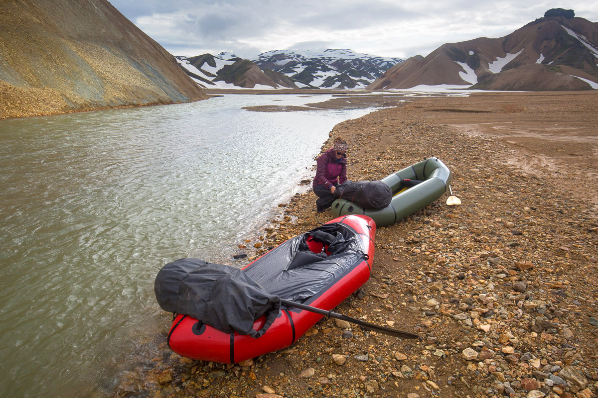 The packrafts - inflated and ready. Our rucksacks are in the drybags lashed to the front