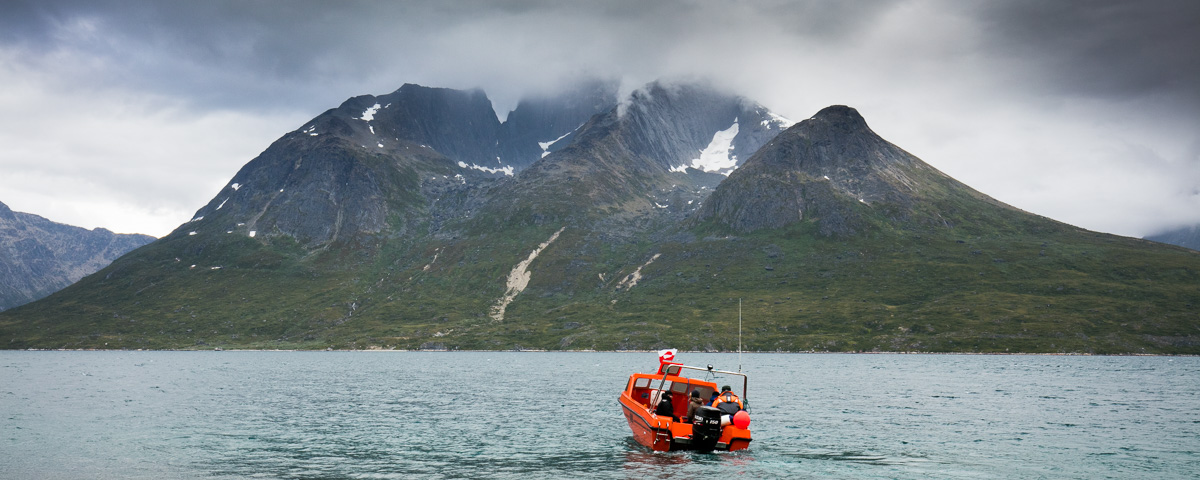 A local farmer operates an occasional tourist boat into the fjord.