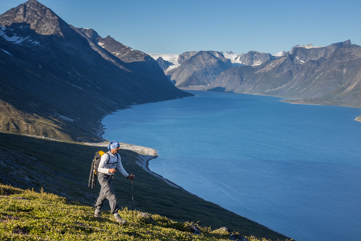 A couple of hundred meters above the fjord after easy hiking