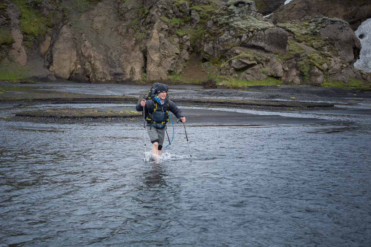 The crossing at Hvanngil is trivial and at this water level is a great 'beginner' crossing.