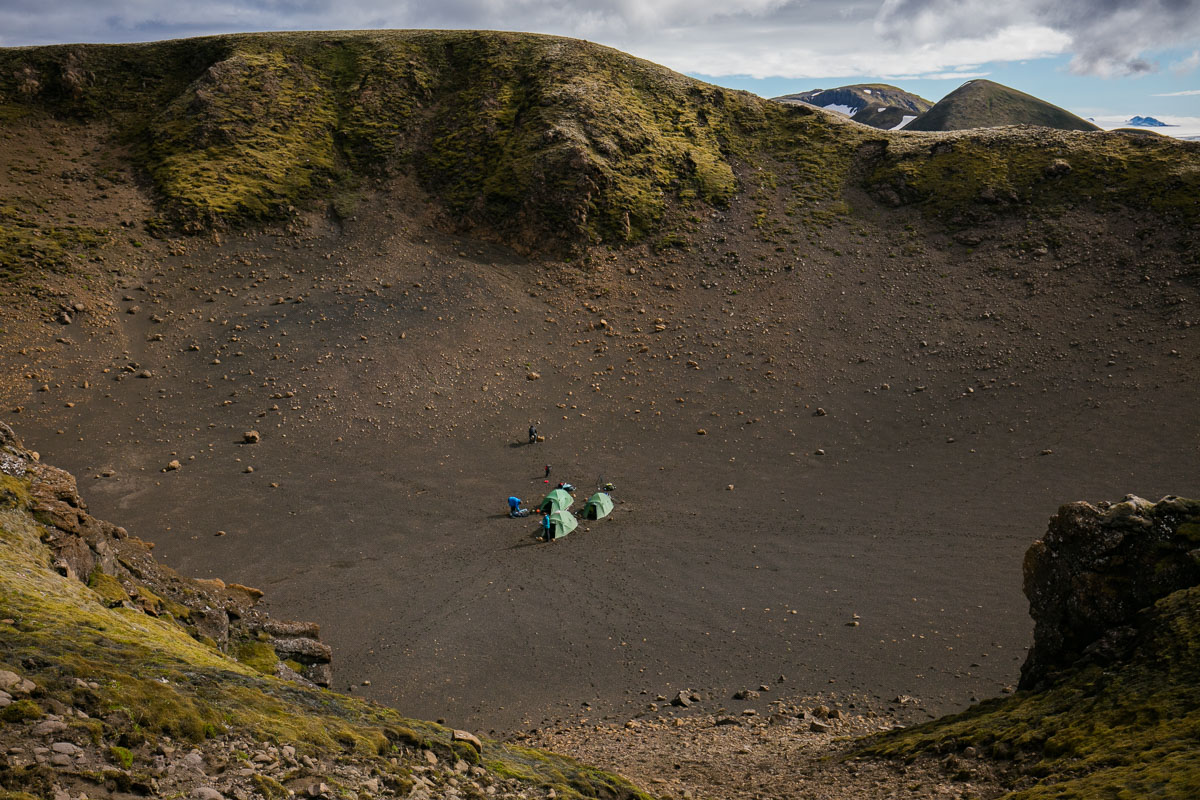 Camping in a crater