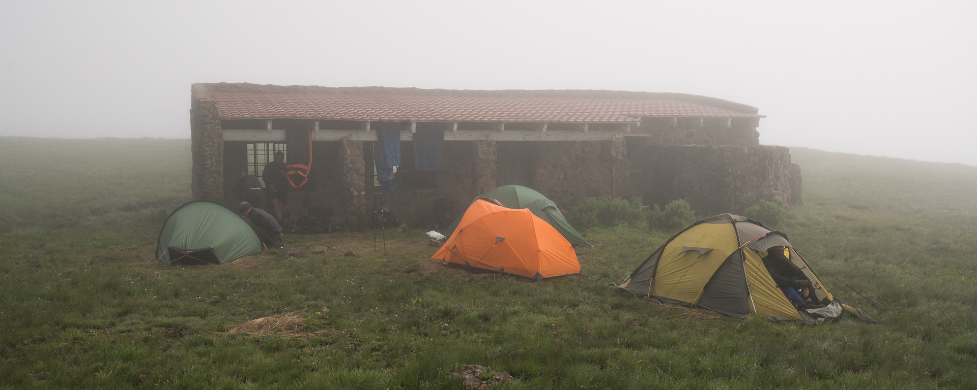 Our camp at Centenery Hut was clouded out all night and the following morning. It's just as well because we needed the rest! The hut itself is sadly ruined and in need of serious repair.