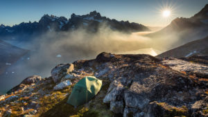Our tent 600m above Aappilattup Avanna fjord. Not too shabby.