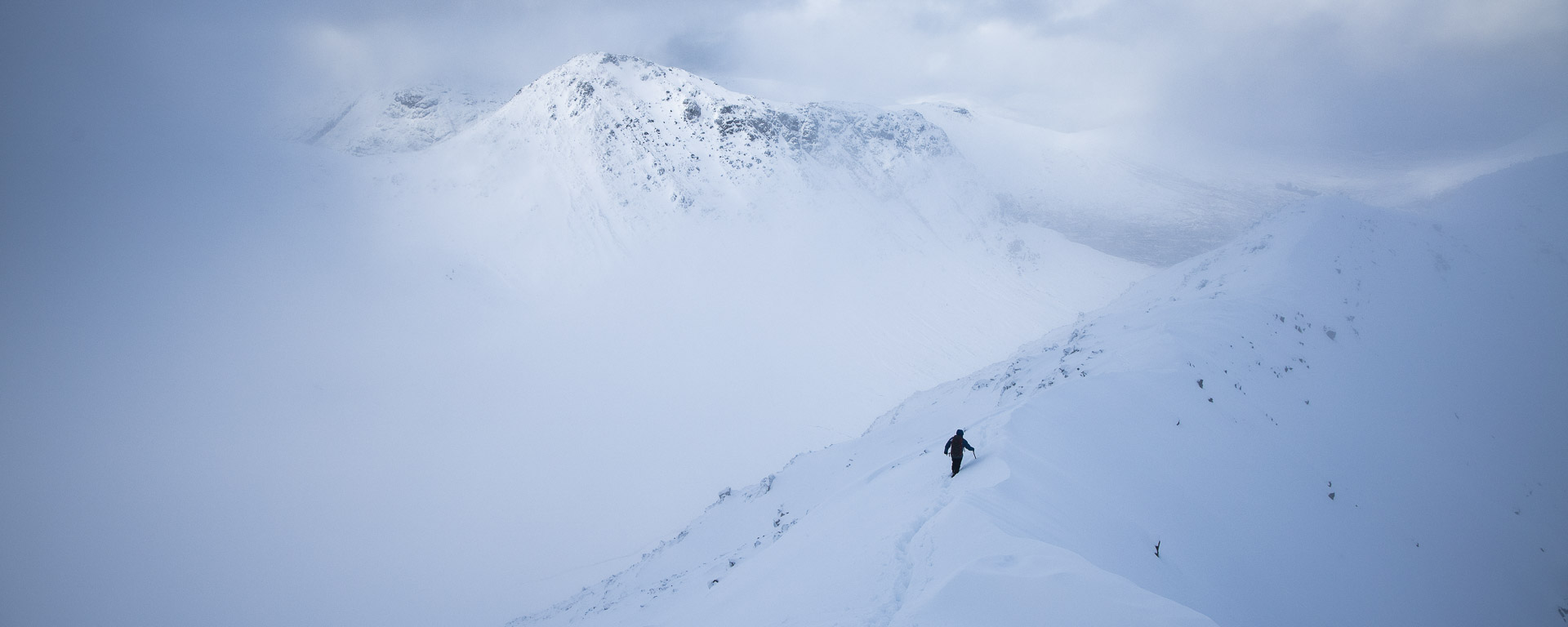 Winter Adventures in Glencoe, man in Blizzard