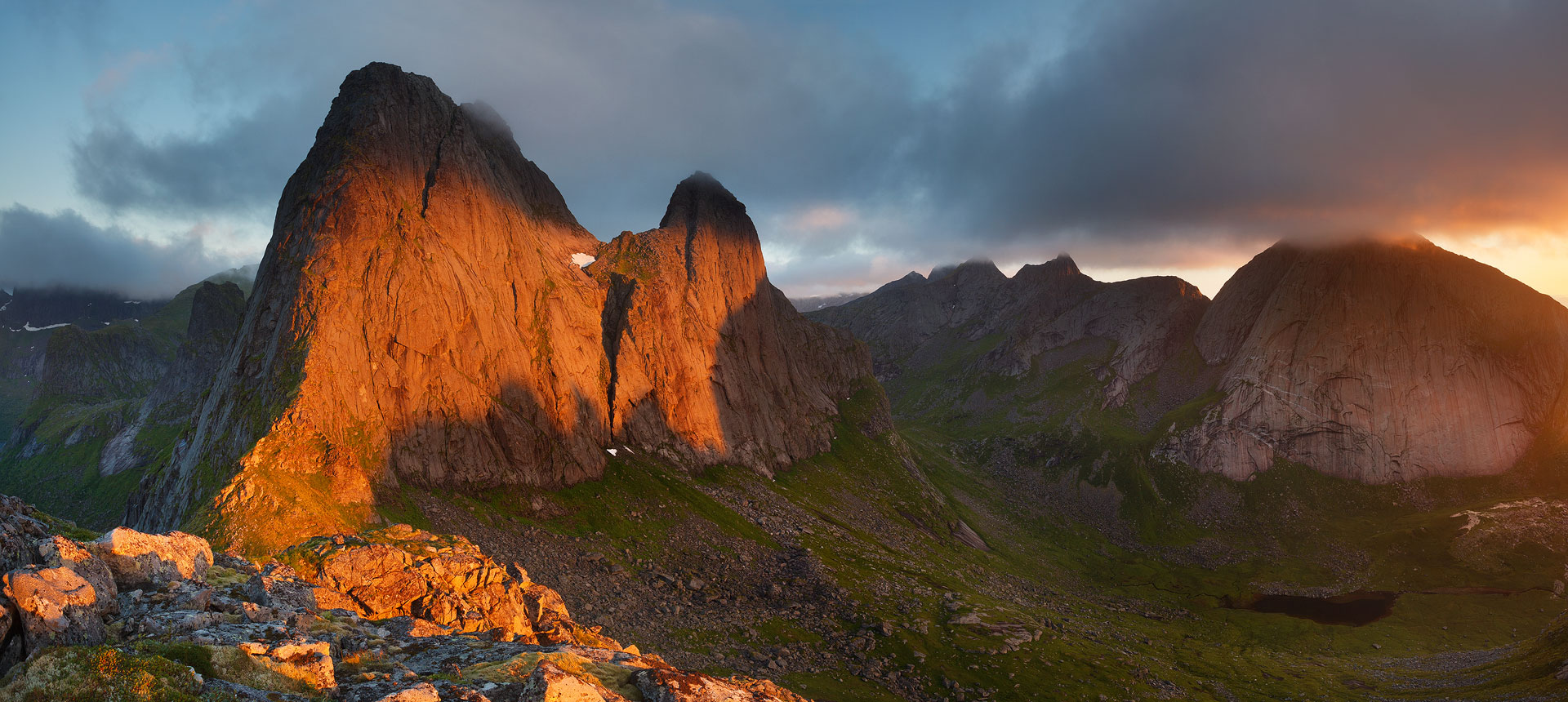 Krakhammartinden with red sunset light in Lofoten, Norway