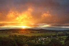 A fiery sunset over Peter Tavy in Devon