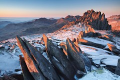 Castell y Gwynt during a perfect sunrise with a dusting of snow