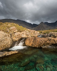 the turquise colour of one of the Fairy Pools on the Isle of Skye