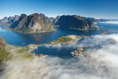 Reine is surrounded by sea mist in Lofoten