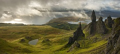 Dramatic clouds surround the pinnacles of rock on the Isle of Skye known as the Storr