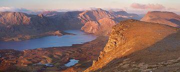 Sunset towards A' Mhaighdean from Beinn Airigh Charr