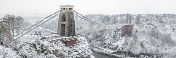 snow on the Clifton Suspension Bridge