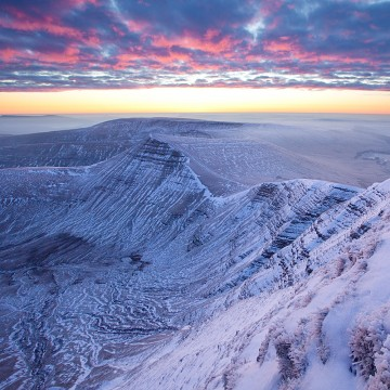 A view of Craig Cwm Sere and Cribyn from Pen Y Fan just before sunrise