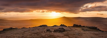 dramatic sunset on Fur Tor, Dartmoor