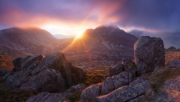 sunset towards glyder fach and tryfan