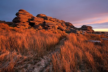sunrise on Great Links Tor on Dartmoor in the winter