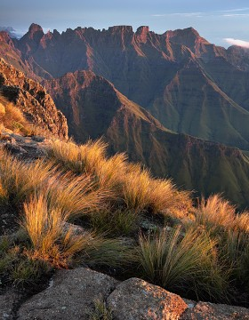 The Cathedral Ridge in the Drakensberg at sunrise