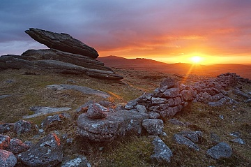 dry stone wall on dartmoor at sunset