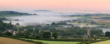 Mist surrounds Peter Tavy in Devon