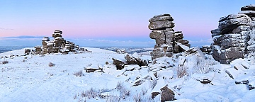 Dartmoor snow on Staple Tor at sunrsie