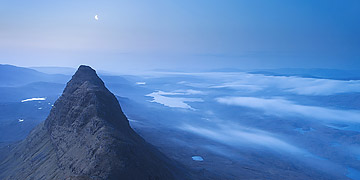 Meal Meadonach from Suilven before sunrise with a crescent moon overhead