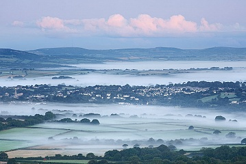 photo of tavistock in devon in the mist