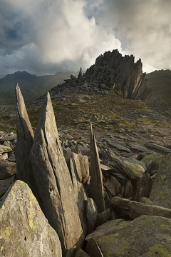 Castell y Gwynt in Snowdonia under a dramatic sky