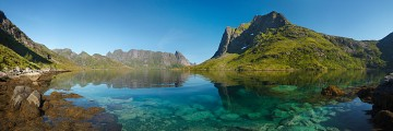 Azure waters of Forsfjorden in Lofoten
