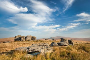 amazing blue cirrus above a Dartmoor Tor